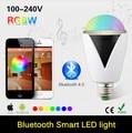E27 3 W Lâmpada LED RGBW Sem Fio Bluetooth 4.0 Speaker Áudio Lampada diodo emissor de Luz Da Lâmpada Música Jogando & Lighting Para iOS Para Android