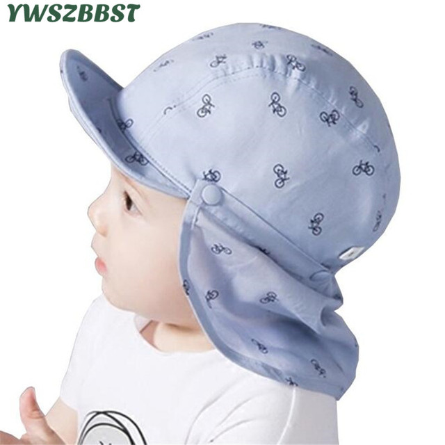 4954395ccc4 Baby Boy Sun Hats Summer Baseball Caps with Shawl Autumn Baby Hat Kids Boy  Cap New Fashion Bicycle Sun Cap for Girls 3M to 24M