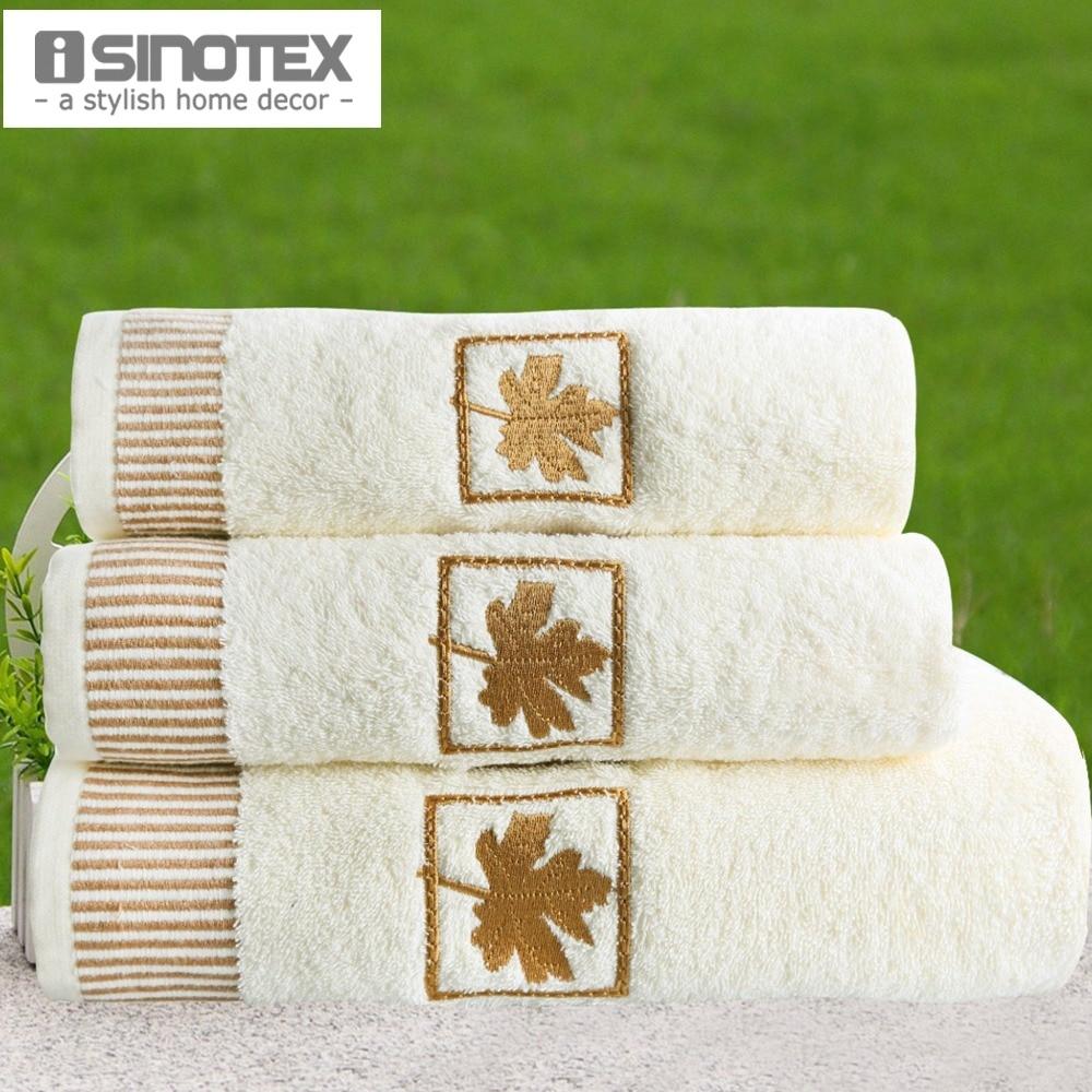 Bath Towels Lots: 100% Cotton 3 PCS/Lot Embroidery Towel Set Handkerchief