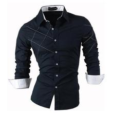 Jeansian Men's Fashion Dress Casual Shirts Button Down Long Sleeve Slim Fit Designer 2028 Navy цена