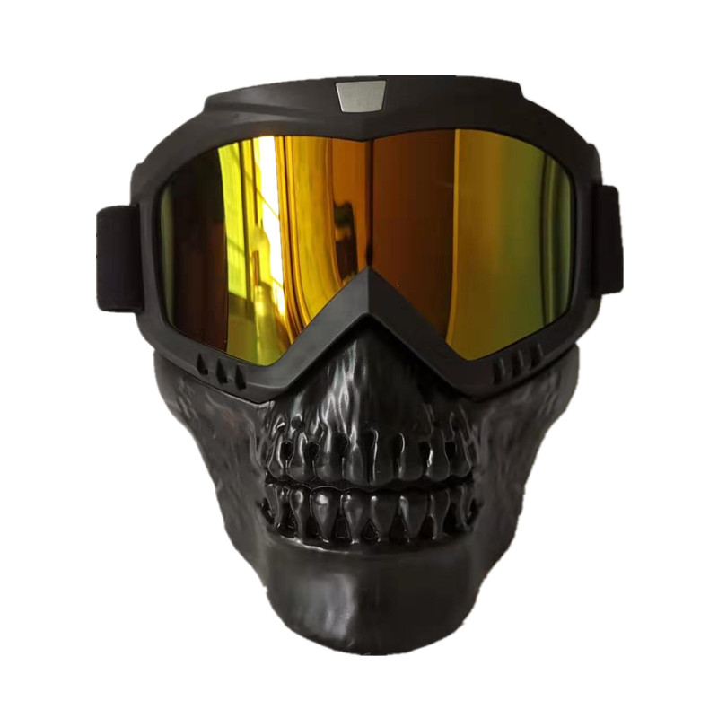 Detachable Motorcycle Goggles Mask Skull Moto face mask Wind proof Motocross goggles Racing helmet Protective Goggles Mask(China)