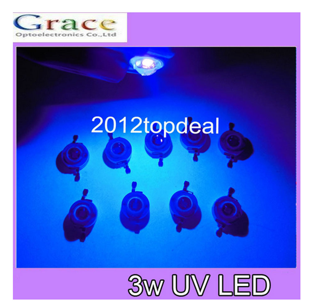 NEW 10pcs 3W UV 395-405nm LED ultraviolet LED High Power Dioders bead DIY