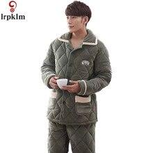 Высококачественная брендовая одежда Для мужчин зимние пижамы Повседневное пижамы теплая отложным воротником Пух воротник длинный рукав Для мужчин пижамы Наборы для ухода за кожей SY849
