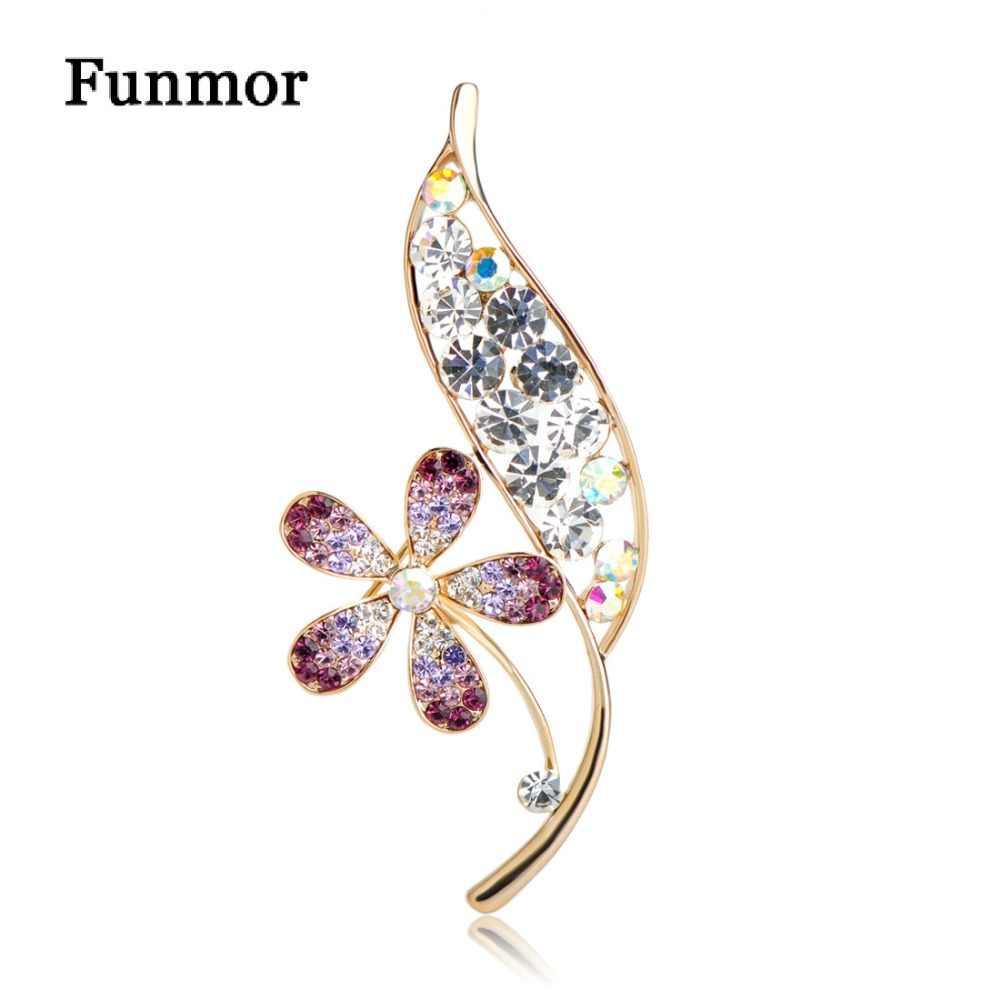 Funmor великолепный цветок с листом Форма Броши для женщин Девушка фиолетовый хрустальный корсаж торжественная рубашка платье аксессуары нагрудные шпильки