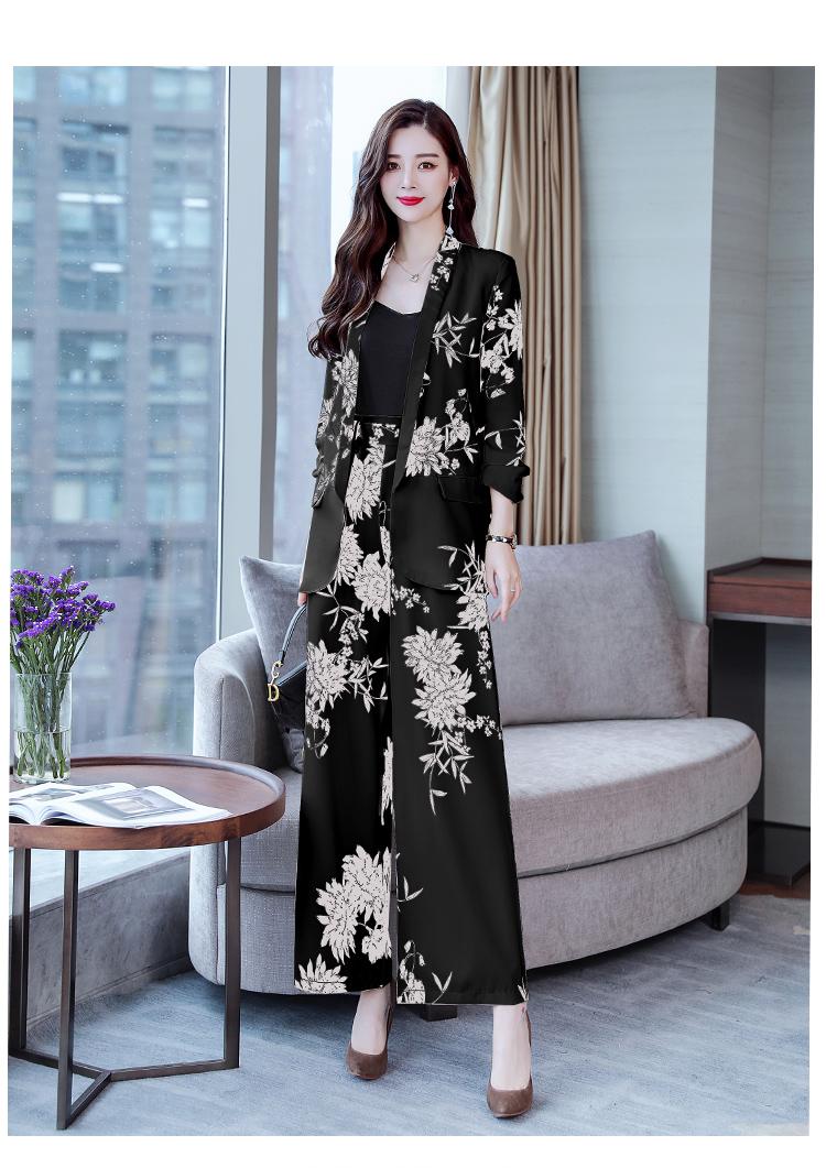 YASUGUOJI New 2019 Spring Fashion Floral Print Pants Suits Elegant Woman Wide-leg Trouser Suits Set 2 Pieces Pantsuit Women 29
