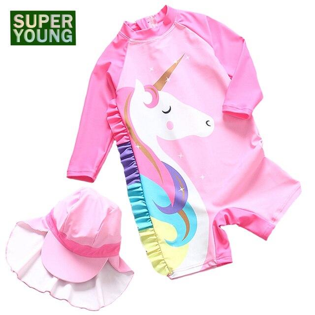 Купальные костюмы с рисунком единорога для маленьких девочек из 2 предметов Детские радужные костюмы для серфинга с защитой от УФ-лучей детская пляжная одежда для купания для малышей