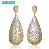 MECHOSEN Luxury Full Mirco Paved Cubic Zirconia Water Drop Earrings For Women Engagement Wedding Jewelry Large Copper Oorbellen