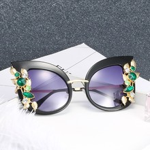 Fashion Cat Eye Sunglasses 2019 Ladies Brand Design Personality Frame New Trend Oversized Metal Inlay UV400