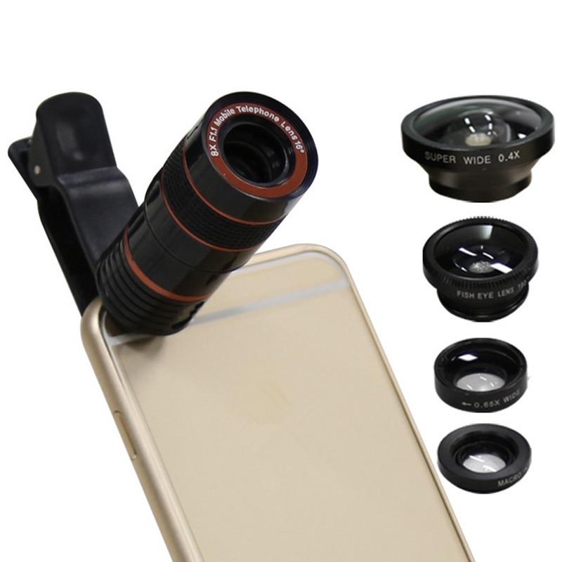 imágenes para Orbmart 5 a 1 Lentes 8X Telescopio 0.4x Súper Peces ojo ángel amplio macro para iphone samsung htc xiaomi teléfono móvil cámara