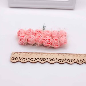 Image 5 - Nuovo (144 pz/lotto) 2 centimetri testa Multicolor PE Rosa Schiuma Mini Bouquet di Fiori di Colore Solido/Scrapbooking Artificiale della gomma piuma della Rosa Fiori