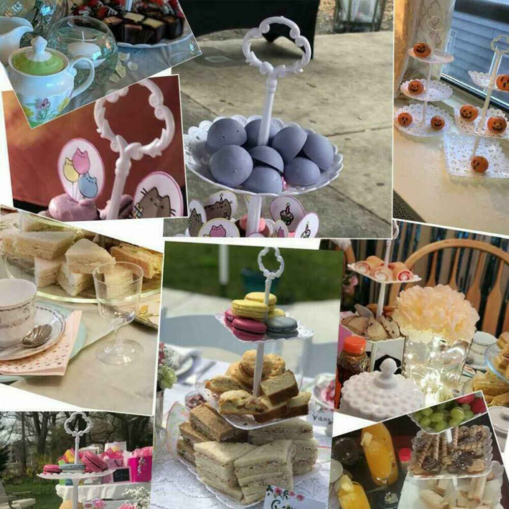 3 Lapis Plastik Kue Stand Teh Sore Pernikahan Piring Peralatan Makan Pesta Bakeware Kue Toko Tiga Lapisan Kue Rak Penyimpanan Tray