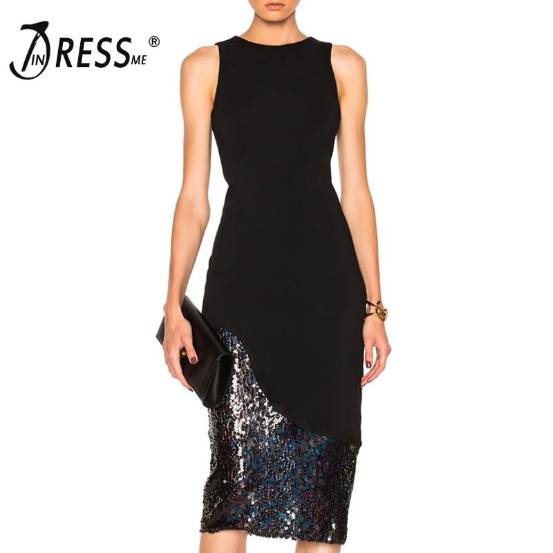 INDRESSME Fashion Solid Sequined Midi Women Bandage Party Dress Sexy Solid O Neck Bodycon Spring Women Dress Vestidos 2018 long sleeve sweater dress solid knitted side slit high waist vestidos women spring bodycon sexy dress midi dress female clothing