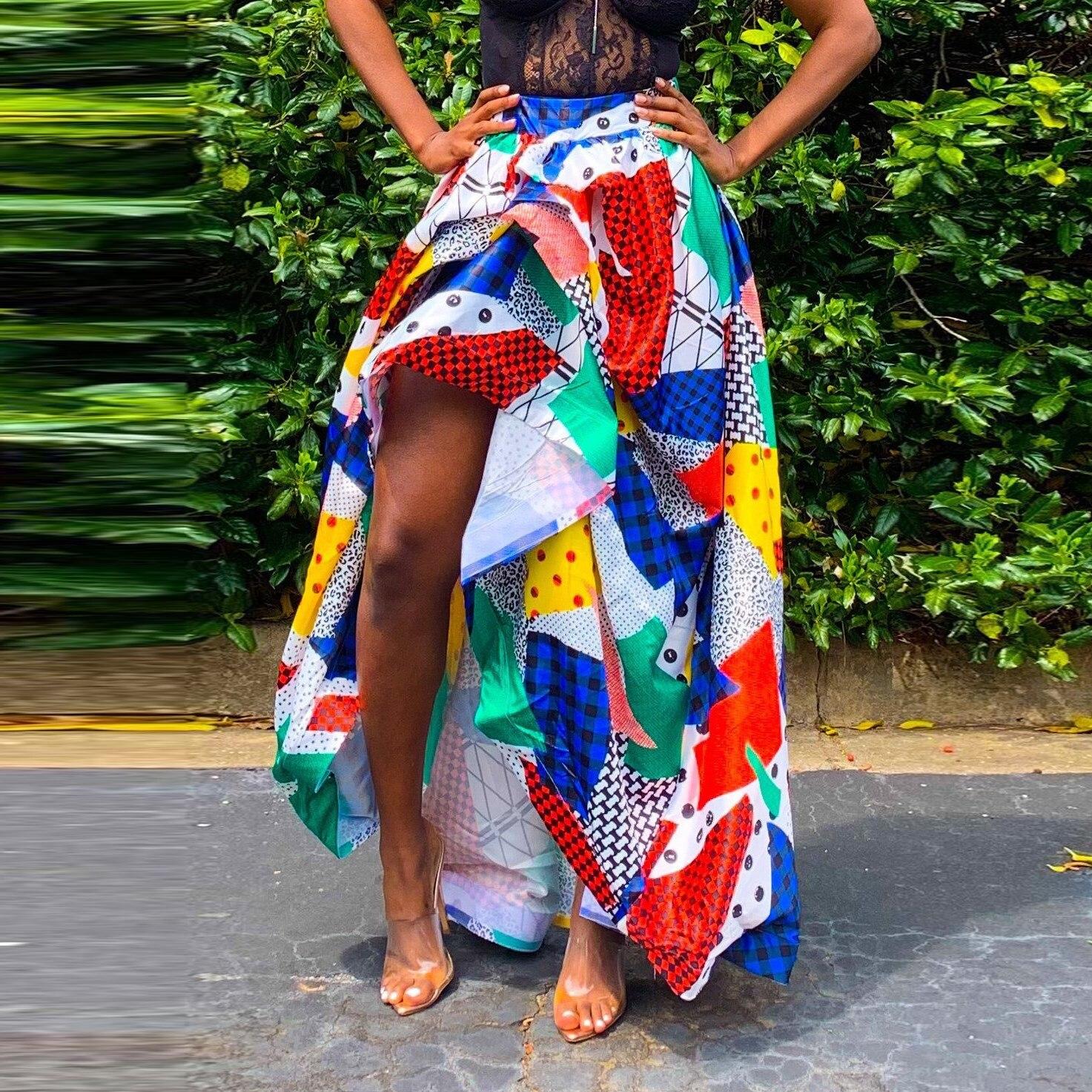 Women Skirt High Waist  Summer  Femme Party Skir Print Fashion Long Maxi Skirt