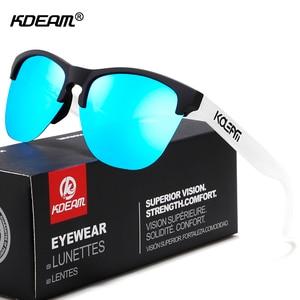 Image 1 - Мужские поляризационные очки KDEAM, спортивные антибликовые солнцезащитные очки в эластичной оправе, уличные очки с чехлом, Happy TR90