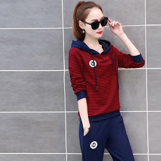 Spring Women Sportswear Tracksuit Stripe Printed Hoodies Sweatshirt+pant Running Jogger Casual Fitness Exercise Set Sport suit 53