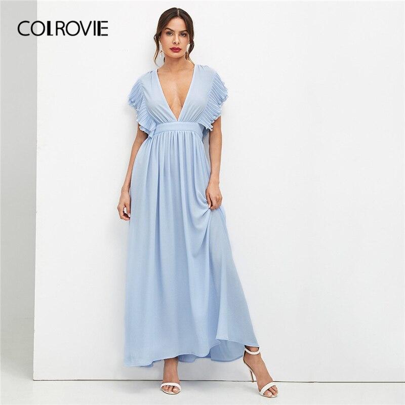 7e7f59a7362 COLROVIE Blue Deep V Neck Ruffle Trim Elegant Flared Dress Women 2019 Summer  Butterfly Sleeve High