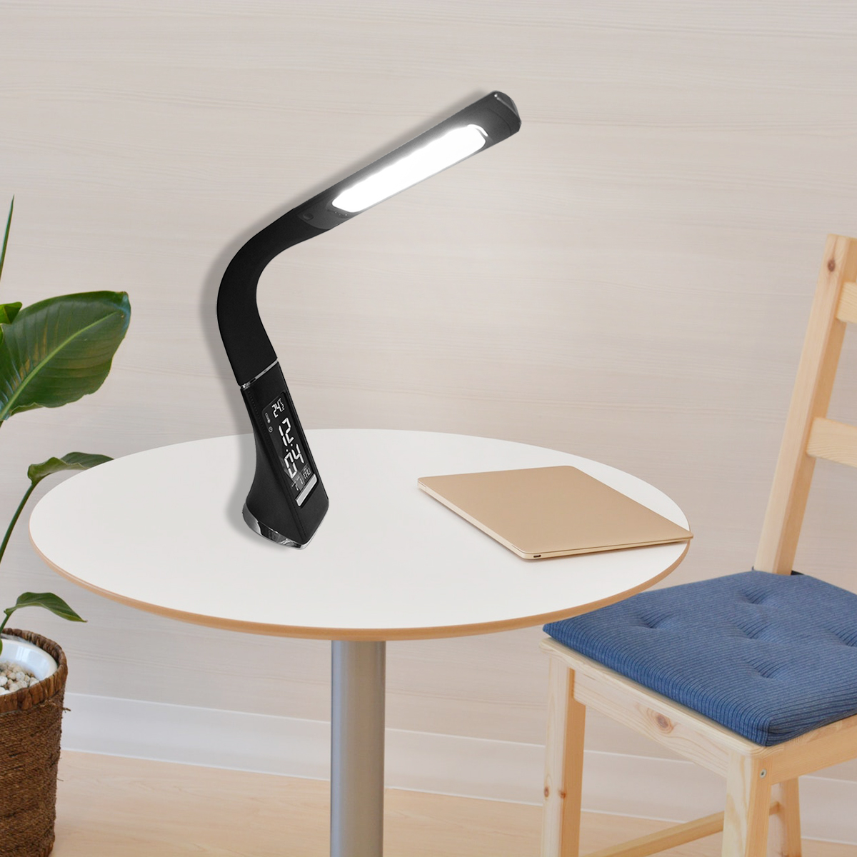 5W LED light dimming touch skin texture reading light with alarm clock black creative business table led lamp table lamp