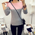 Knitted Womens Sweaters Pullover Sweater Shirts Tops Pull Femme Shirt Cell Patchwork Polyester Long Sleeve O Neck 2016 Blusa