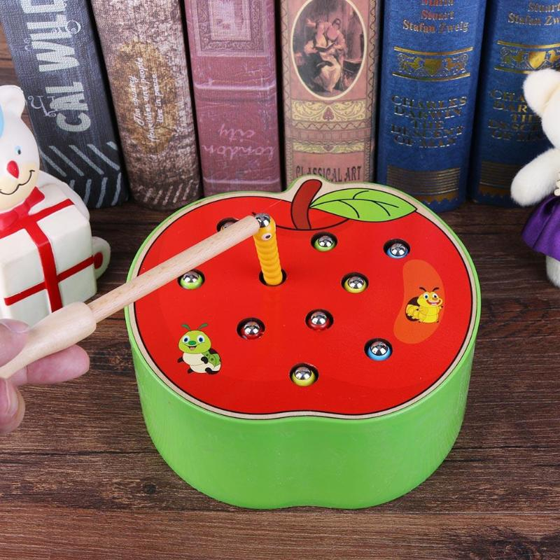 3D Apple Cognitive Education Puzzle Toys Color Wood Toys Magnetic Caterpillar Animal Early Childhood Education Catch Worm Game