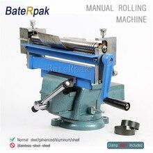 BateRpak Manual Steel Plate Rolling machine desktop small work steel galvanized aluminum sheet Bending Machine