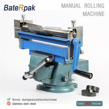 BateRpak Manual Steel Plate Rolling machine,desktop small work steel/galvanized/aluminum/sheet Bending Machine