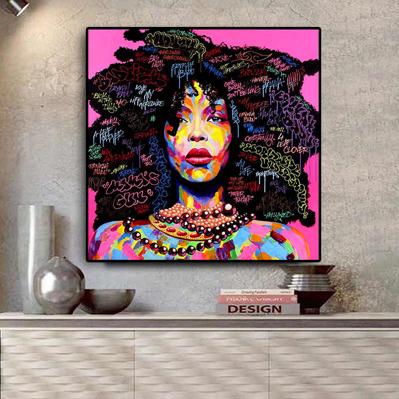 Abstract African Woman Portrait Canvas Painting Posters and Prints Graffi Scandinavian Wall Art Picture for Living Room