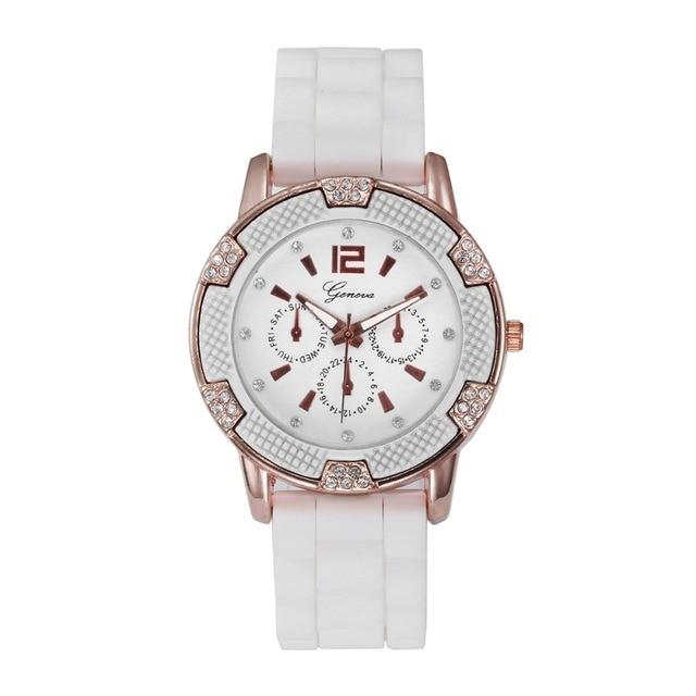 Big Clearance Sale Casual Geneva Watch Women Rhinestone Analog Wristwatches Sports Silicone Watches Rose Gold Dail Quartz Watch