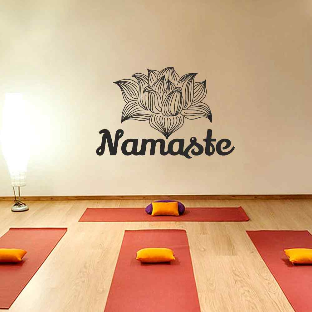 Namaste Wall Decal Lotus Stickers Yoga Studio Vinyl Decals Mandala Flower Art Mural Home Interior Design