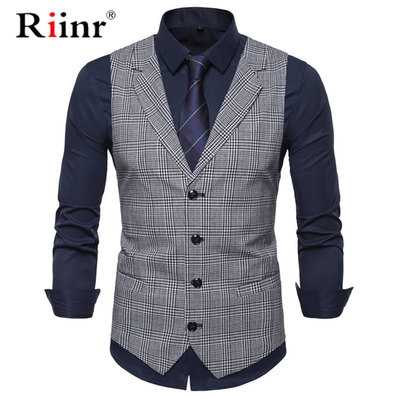 Top Seller Man Suit Vest Fashion Slim Fit Thin Grid Plaid Men Waistcoat Tops Slim Business Jacket Tops Homme 2019 Spring Autumn