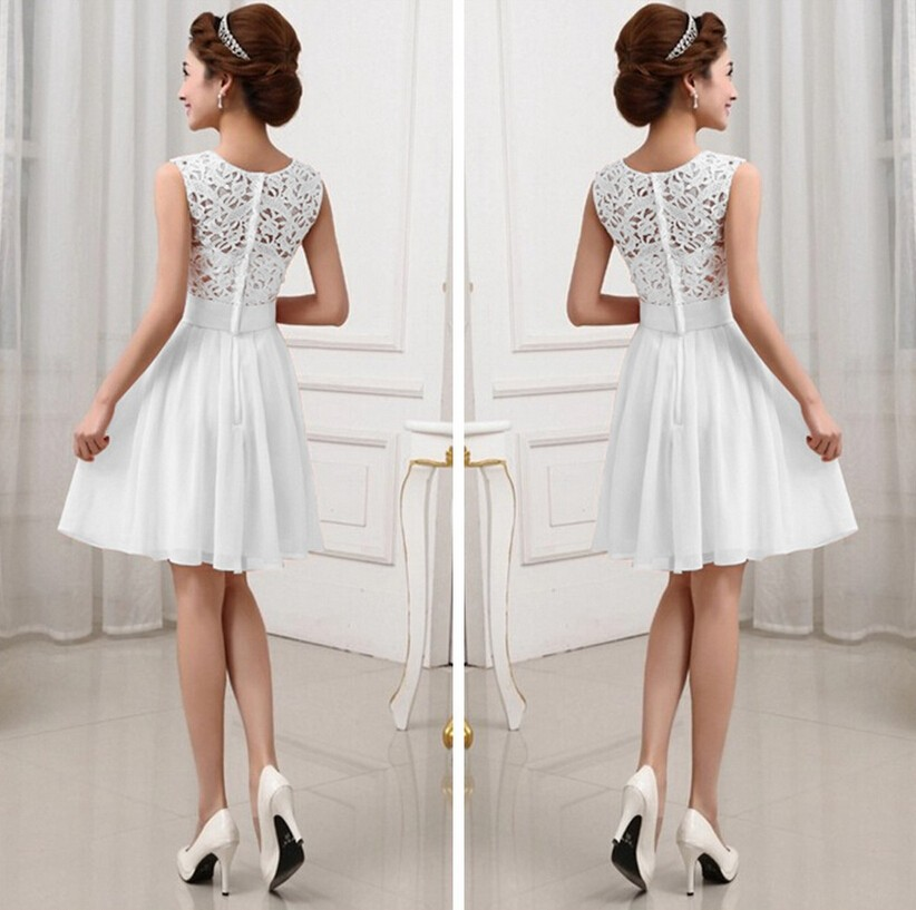 2015 White Lace Short Prom Gowns Vintage Chiffon Elegant Formal ...