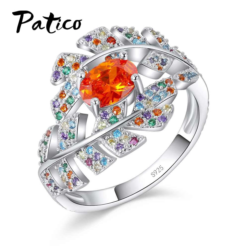 PATICO Natural 925 Sterling Silver Leaf Shape Crystal Design Sense Orange Color CZ Zircon Ring Women Fashion Jewelry ...