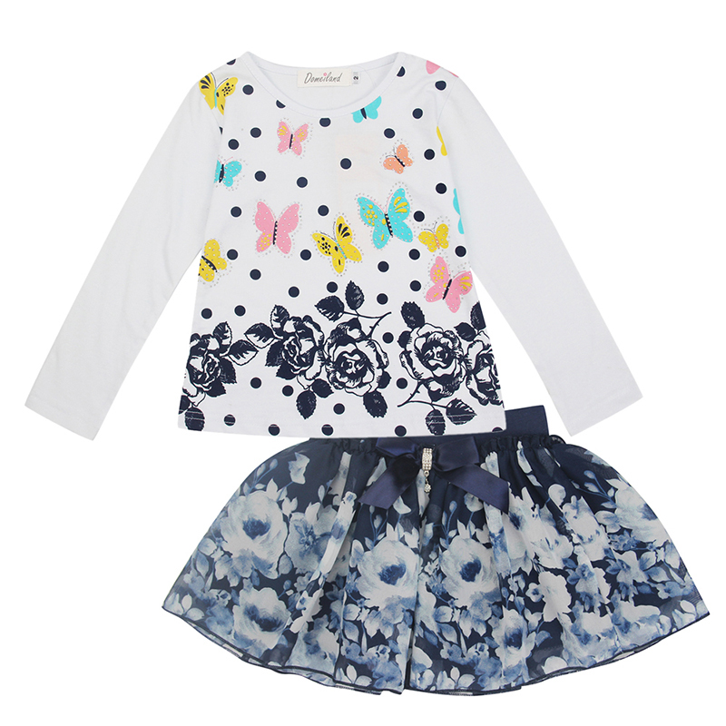 2017 Fashion Spring brand DOMEILAND Boutique Outfits clothes Girls Sets Print Long Sleeve floral T shirts Bow Tutu Skirts suits 2016 new fashion boutique outfits for omika baby girls sets with 2 pcs cute print long sleeve tops bow tutu skirts size 4 12y