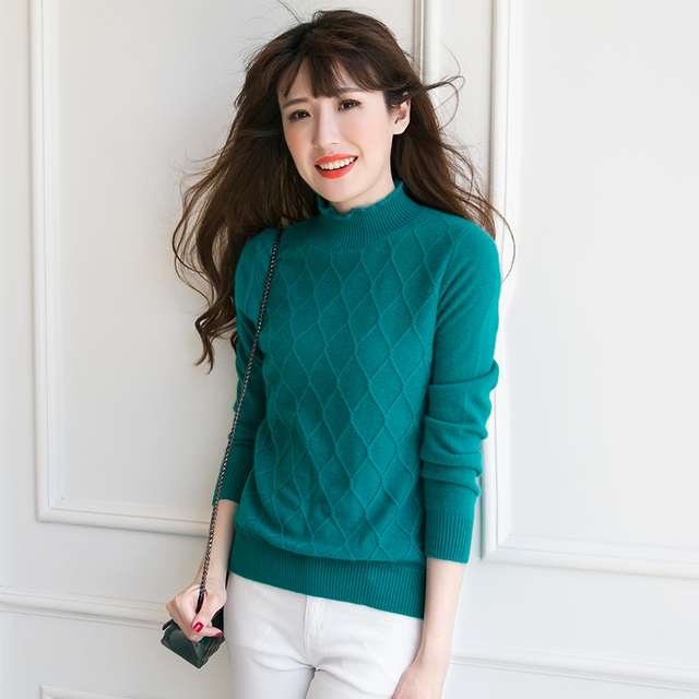 Casual Women Cashmere Sweater Knitting Pattern Pullovers Autumn