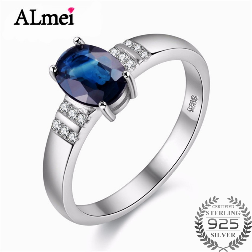 Almei Female Natural Blue Sapphire Eternity Rings Silver 925 Wedding Zircon Fine Jewelry USA Dropshipping with