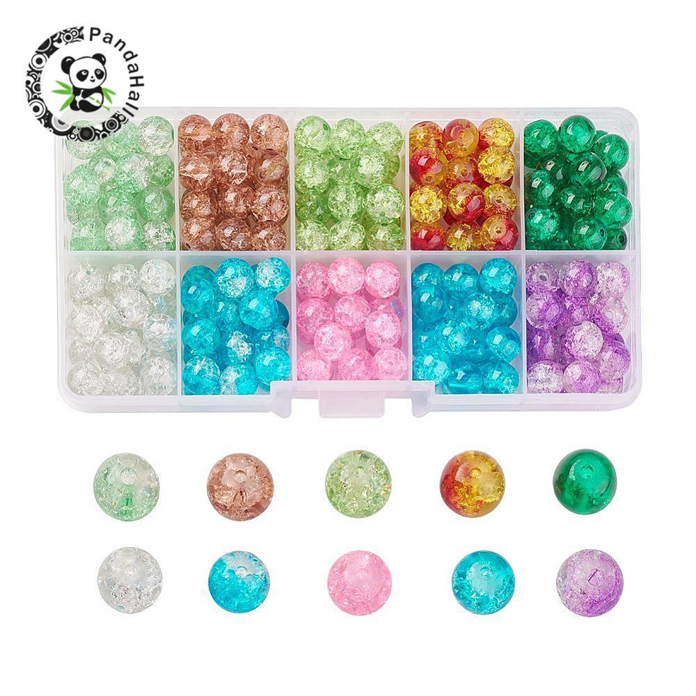 100 Crackle Glass Beads 6mm Pink /& Dark Aqua