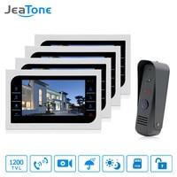JeaTone Video Doorphone Intercom Doorbell Camera System Touch Button Indoor Monitor 10 Home Security Door Access