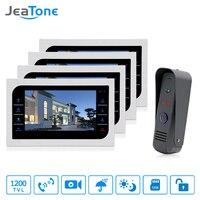 JeaTone Видеомонитор Интерком дверной звонок Камера системы сенсорная кнопка крытый монитор 10 Home Дверь доступа Водонепроницаемый 4v1