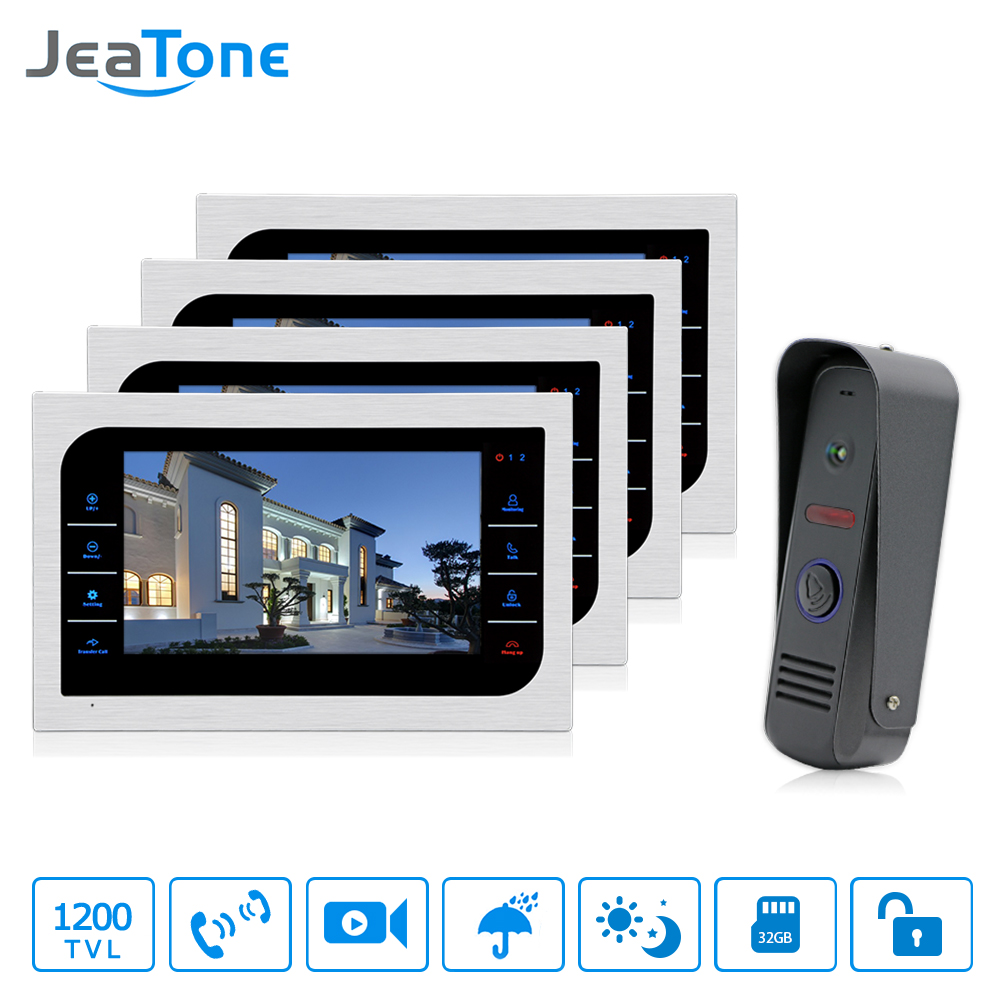 JeaTone Video Doorphone Intercom Doorbell Camera system Touch Button Indoor Monitor 10 Home Security Door Access Waterproof 4v1 yobang security video doorphone camera outdoor doorphone camera lcd monitor video door phone door intercom system doorbell