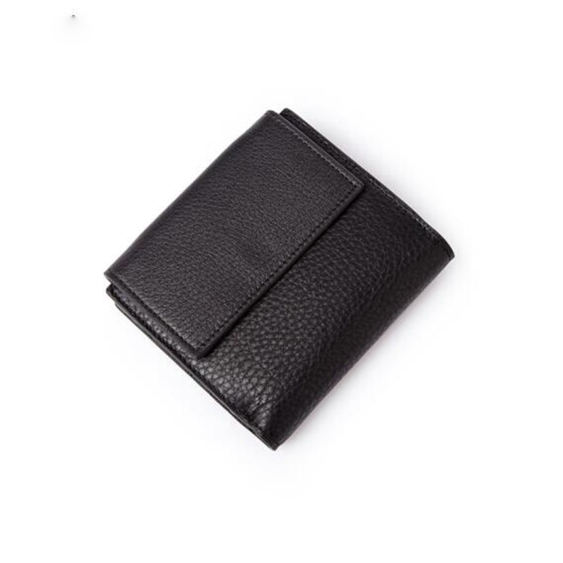 Women Short Wallets Genuine Leather Mini Coin Purse Female Purses Card Holder Wallet Fashion Woman Black