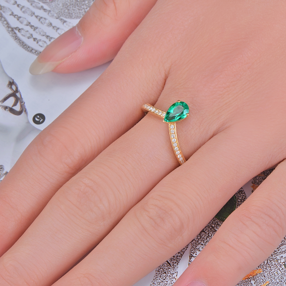 Caimao Jewelry 14k Yellow Gold 0.59ct Natural Emerald and 0.11ct ...