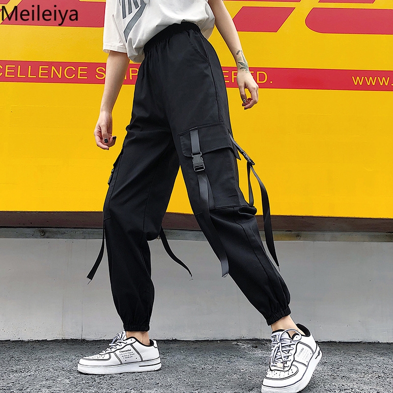 Black High Waist Cargo Pants Cotton Women Pockets Patchwork Loose Streetwear Pencil Pants 2019 Fashion Hip Hop Women's Trousers