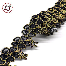 Nova moda 1 quintal 65mm bordado colorido flor laço fita guarnição de ferro no remendo costura artesanato bohemia acessórios para vestuário diy