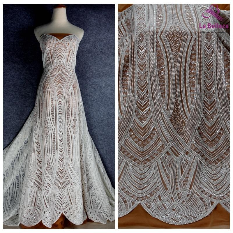 La Belleza new off white beaded heavy embroidery wedding dress lace fabric 51'' width 1 yard