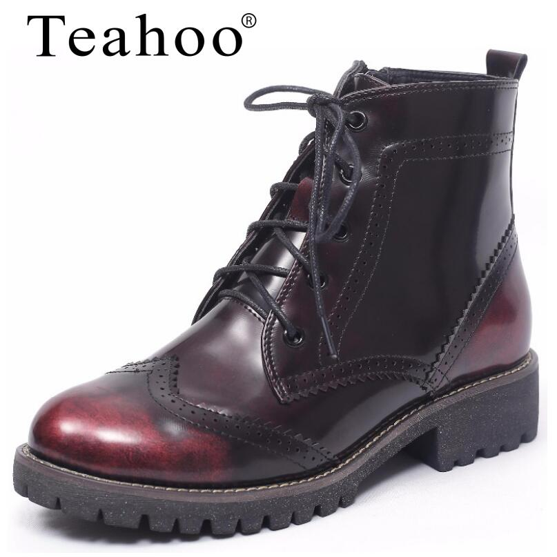 Teahoo 2017 New Retro Lace-Up Women's Martin Boots PU Ladies Ankle Boots Flat with Round Toe Plus Fur Short Boots Shoes Woman front lace up casual ankle boots autumn vintage brown new booties flat genuine leather suede shoes round toe fall female fashion