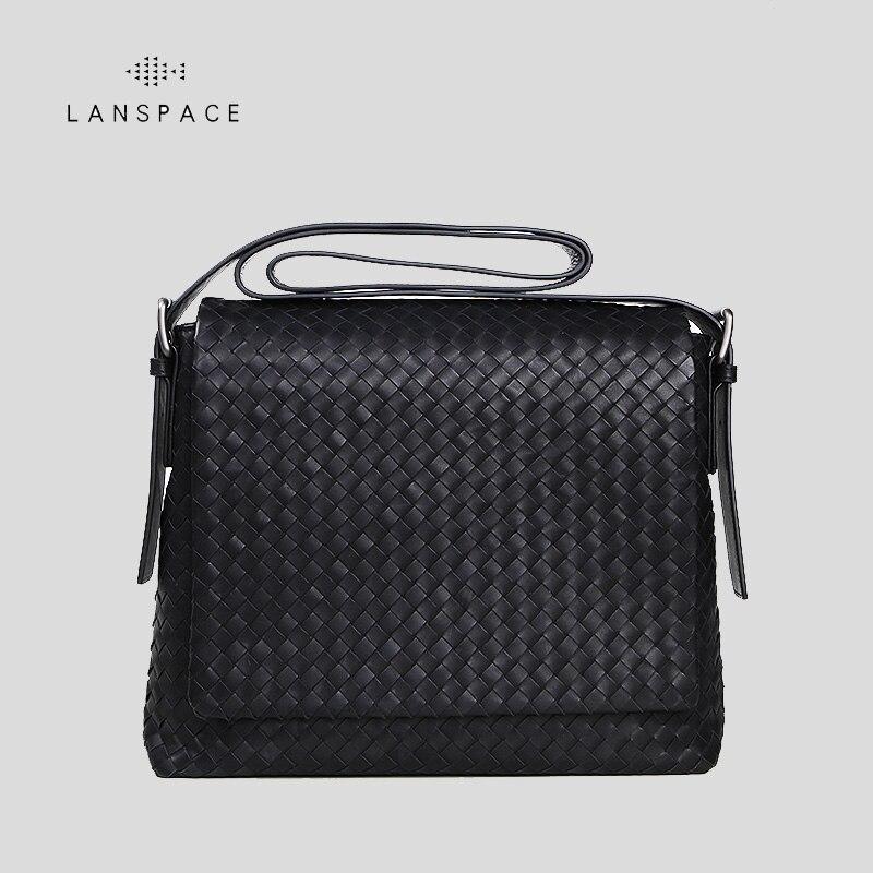 LANSPACE men's genuine leather shoulder bags fashion men bag famous brand crossbody bag