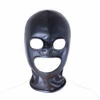 PU Leather Fetish Mask Head Bondage Gear Adult Games Sex Toy For Couple Female Sex Product Sexy Toys Cosplay Open Mouth Eye Mask