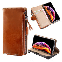 Natural Leather phone case for Samsung Galaxy S10 S9 S8 S7 PLus for A50 Wallet case For Note 8 9 zipper Armor Card Slot Holder