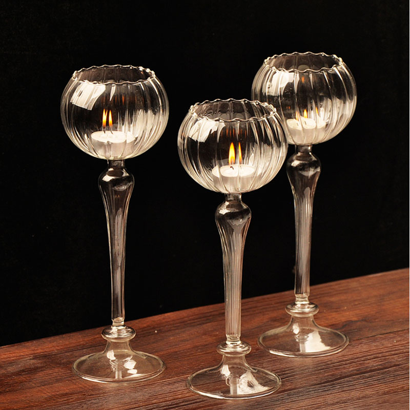 European Flower Type Tall Candle Holders For Wedding Centerpieces Handmade Glass Candle Lantern Romantic Home Decor