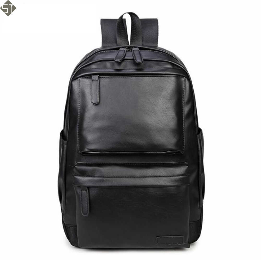 Новая мода Стиль кожа мужские черные Рюкзак Мода известная марка мужской  Повседневное мальчиков школьные сумки для 1a0612502cc