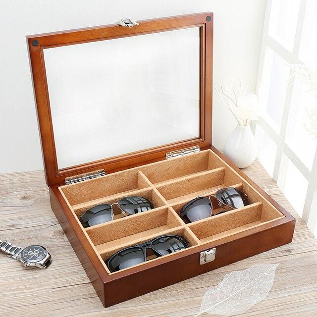 Techo de madera Gafas de Sol gafas de Sol Gafas de Caja de Pulsera Collar de Caja de Colección Pat Pantalla